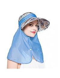 EINSKEY Womens Visor Hat with Neck Flap Summer 360° UV Protection Sun Hat