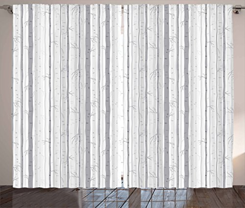 Ambesonne Grey and White Curtains, Birch Tree Grove Leafless Branches Winter Woodland Illustration, Living Room Bedroom Window Drapes 2 Panel Set, 108 W X 84 L Inches, Grey White