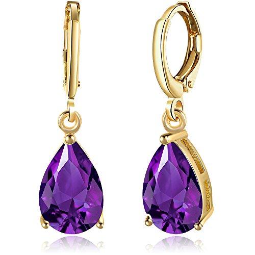 BEMI Elegant Gold/Silver Plated Polishing Princess Cut Teardrop Crystal Dangle Earrings Clip-on for Woman Purple (Drop Purple Earrings)