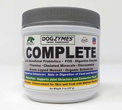 Dogzymes Complete - Probiotics, prebiotics, Glucosamine, Chondroitin, MSM and Hyaluronic Acid, Complete Skin and Coat Care (8 Ounce)
