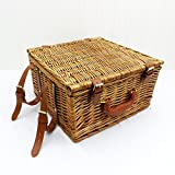 The Greenwich 2 Person Picnic Basket Set - Luxury Wicker 2 Person Fitted Hamper with Accessories - Perfect gift idea for Black Friday, Christmas presents, Birthday, Wedding and Anniversary