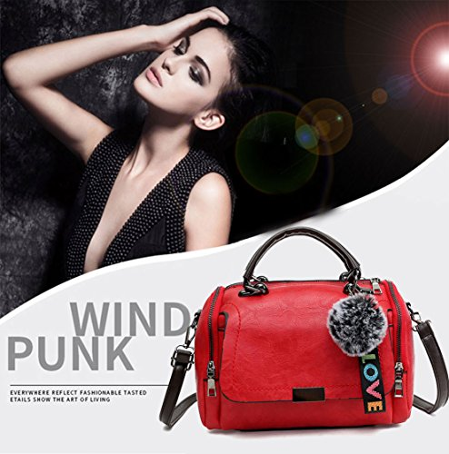 Faux Body Bags Bags Bags Burgundy Top Handbags Shoulder Leather Handle Women's Cross qAtvB