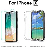 """WWTL iPhone X Case And Screen Protector Bundle Kit, Air Cushion Technology PC + TPU Cover Hard Back Shockproof Bumper With Tempered Glass Screen Protector 5.8"""" for iPhone X 10 8 (Crystal Clear)"""