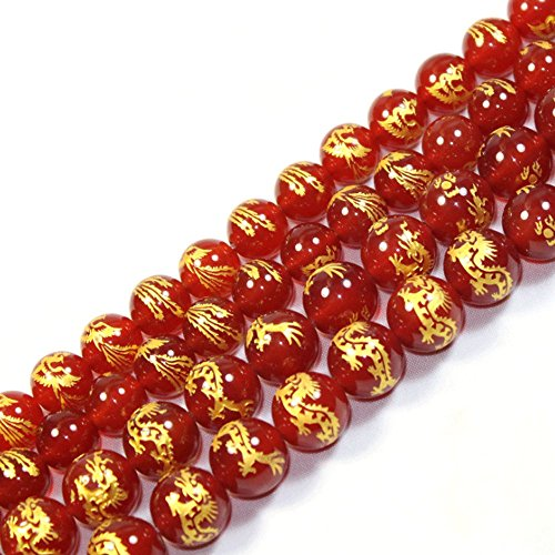JARTC Rare Collection Natural Red Agate Carved Dragon Pattern Round Loose Beads for Jewelry Making DIY Bracelet Necklace (10mm)