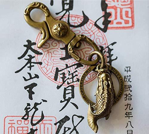 Handmade Solid Brass Dragon Fish Pendant Keychain Key Ring Lucky Chain Handicrafts Original Mens Gift