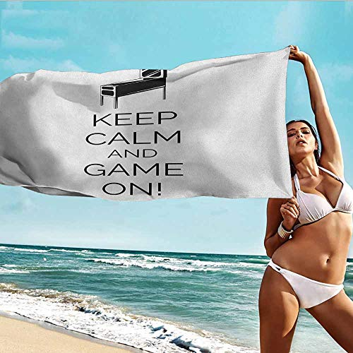 Antonia Reed Absorbent Bath Towel Keep Calm,Pinball Machine Arcade Room Concept Keep Calm and Game On Fun Entertainment,Black White,Suitable for Home,Travel,Swimming Use 32