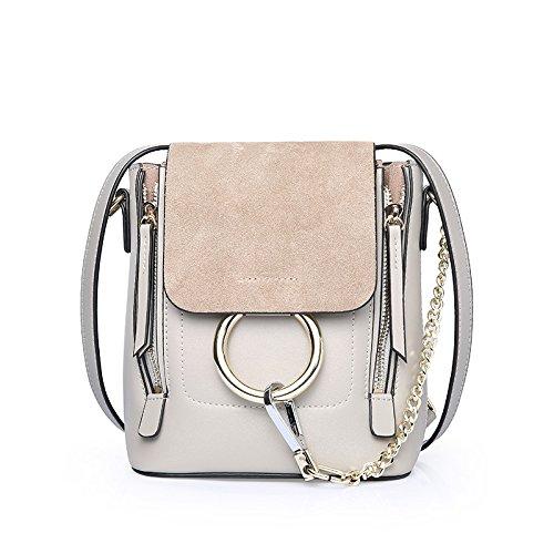 GUANGMING77 Borsa _ Estate Piccolo Zaino Oblique Zaino Borsa Tracolla Messenger Bag,Anello Verde Oliva Light grey