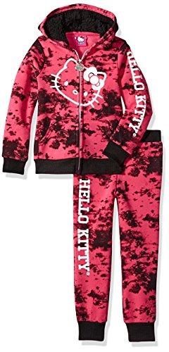 Hello Kitty Toddler Girls' 2 Piece Hooded Fleece Active Set, Pink Glitter, 3T