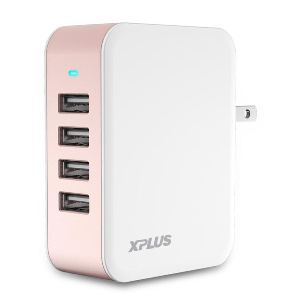 XPLUS USB Wall Charger, 24W/4.8A,4 Port Foldable USB Wall Charger with iSmart Technology for iPhone X /8/8 Plus/7/7Plus/6/6 Plus, iPad Pro/Air/mini,Galaxy S7 / S6 / Edge / Plus and More(Rose Gold)