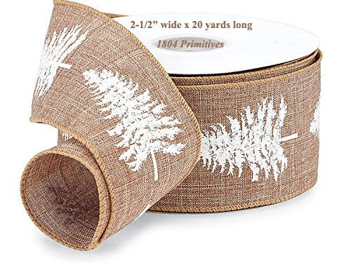Decorative primitive & rustic crafting supplies 20 Yards TAN Fabric Ribbon w/White Christmas Trees ~ 2-1/2'' Wide from Decorative primitive & rustic crafting supplies
