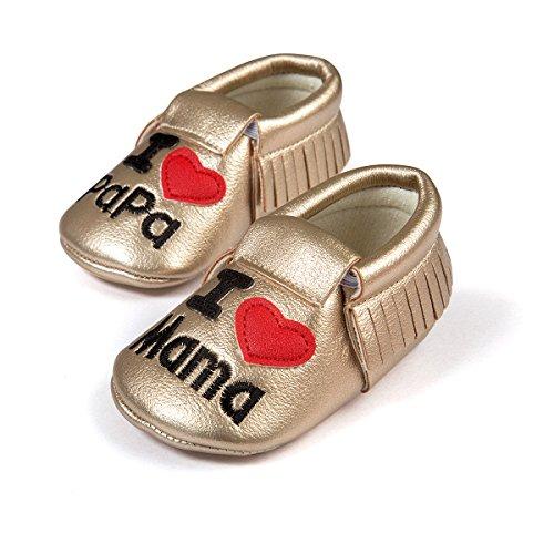 etrack-online recién nacido niños borla suave soled Love Papa Mama Mocasín Zapatos B Model Talla:12-18 mes dorado