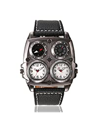 OULM Men's Business Dual Time Zone Leather Band with Compass & Thermometer Quartz Waist Watches-White