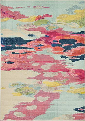 (Unique Loom Estrella Collection Modern Abstract Pink Area Rug (7' 0 x 10' 0))