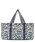 N. Gil All Purpose Open Top 23'' Classic Extra Large Utility Tote Bag 2 (Damask Grey)