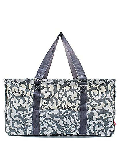 N. Gil All Purpose Open Top 23'' Classic Extra Large Utility Tote Bag 2 (Damask Grey) by N.Gil