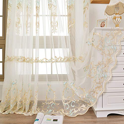 Delicate Window Decorative (WPKIRA European Sheer Curtains for Bedroom Rod Pocket Window Treatment Voile/Tulle Drapes Natural Light Flow Delicate Embroidered Floral Sheer Pasted Sparkling Crystal 1 Panel W54 x L63 inch)