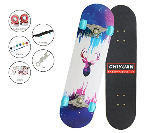"Easy_way Complete Skateboard with Colorful Flashing Wheels for Kids, Boys, Girls, Youths, Beginners 31""x 8""' Canadian Maple Layers with Gift Carrybag for Skateboard (Purple Deer)"