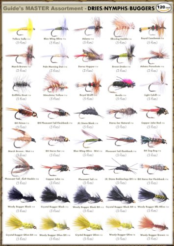 Guides Master Assortment Dry Flies /& Nymphs 120 Flies Top Selling Flies