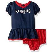 NFL New England Children Girls Dazzle Dress & Panty Set, 3-6 Months, Patriots