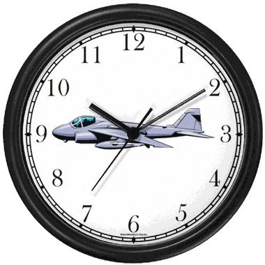 (A6 Intruder Jet Fighter Wall Clock by WatchBuddy Timepieces (Black)