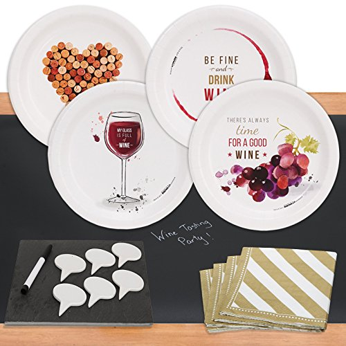 Wine Party32 pc Appetizer Pack w/ Chalkboard Runner & Cheese Board by BirthdayExpress (Image #1)