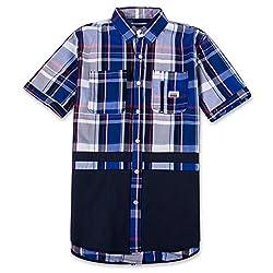 Parish Nation Men's Short Sleeve Woven Shirt (Royal Blue, S)