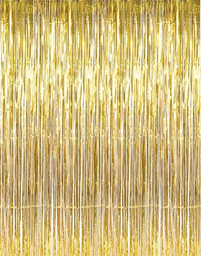 Tytroy Gold Shimmer Door Curtains Metallic Tinsel Fringe Photo Booth Backdrop 3'x8' (1 ()