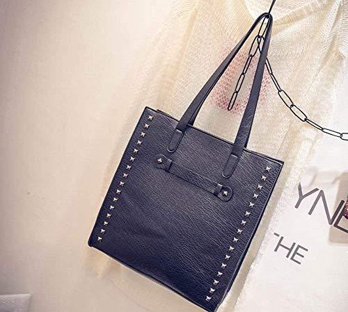 taglia inclinata colore similpelle rivetti da borse unica per a grande mano Eeayyygch mostrato come nero Borsa donna capacità WnBAvOanq