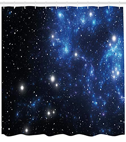 Ambesonne Constellation Shower Curtain, Outer Space Star Nebula Astral Cluster Astronomy Theme Galaxy Mystery, Fabric Bathroom Decor Set with Hooks, 75 Inches Long, Blue Black -