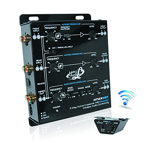 Lanzar Car Audio Crossover, 3 Way Active Crossover, Low Pass Filter / High Pass Filter, Adjustable Crossover, RCA Jacks, DC 12 Volt with Remote Trigger, Car Electronics, Wireless Bluetooth (HTGX6BT)