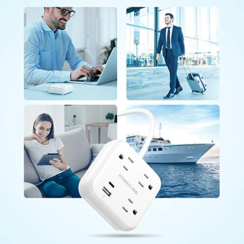 POWERADD Power Strip with USB C Power Delivery 18W, Travel Power Strip with 3 Outlets, 18W USB C & QC 3.0 USB A Port, 5ft Cord, Flat Plug for Cruise Ship, Hotel, Dorm Room and Home