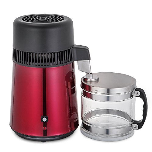 VEVOR Stainless Steel Water Distiller 750W Water Distillation Kit 1.1 Gallon/4 L water distiller for home Countertop with Connection Bottle Food-grade Outlet Glass Container(Red) by VEVOR