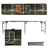 NCAA Miami Hurricanes Weathered Version Portable Folding Tailgate Table, 8'