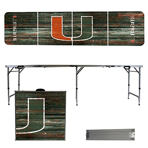 NCAA Miami Hurricanes Weathered Version Portable Folding Tailgate Table, 8' by Victory Tailgate