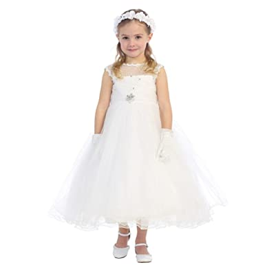 0f63f9fe872d8 Amazon.com: Little Girls Ivory Lace Rhinestone Brooch Tulle Flower ...