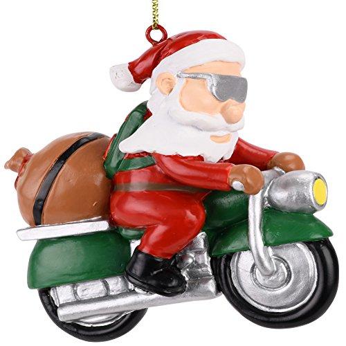 Santa Ornament Christmas Tree Claus (Tree Buddees Biker Santa Claus Motorcycle Christmas Tree Ornament)