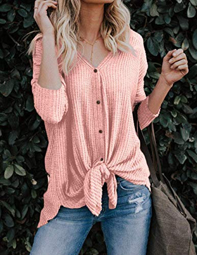 Rose Sweat Chauve Mode V Manches Chandails Tops Cardigan Irrgulier Casual Boutons Tunique Dcontract Chemisier Longues tricots Col Walant Noeud Blouse Souris Femme Shirt Lache wq4g6CP