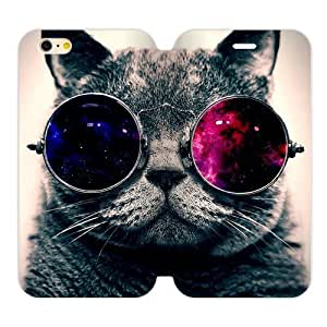 "JDSitem Lovely Cool Galaxy Hipster Cat Wear Glasses Case Cover Sleeve Protector for Phone iPhone 6 4.7"" by Maris's Diary"