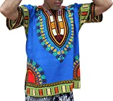 Raan Pah Muang RaanPahMuang Brand Unisex Bright Colour Cotton Africa Dashiki Shirt Plain Front, Small, Iris Blue