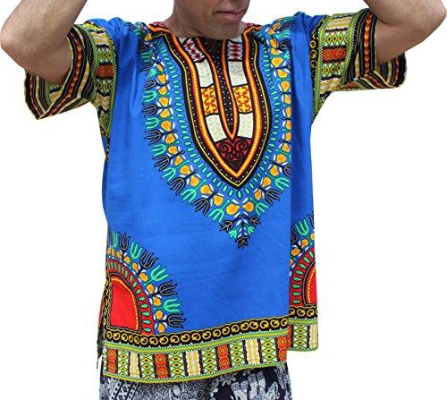 Raan Pah Muang RaanPahMuang Brand Unisex Bright Colour Cotton Africa Dashiki Shirt Plain Front, Large, Iris Blue by Raan Pah Muang