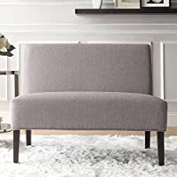 Metro Shop INSPIRE Q Wicker Gray Linen 2-seater Armless Accent Loveseat-Easton Gray Linen 2-seater Accent Loveseat