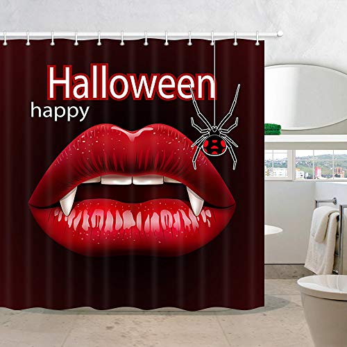 NYMB Horrible Halloween Spider Fabric Shower Curtains, Sex Vampire Woman Red Lips with Fangs, Polyester Waterproof Halloween Party Shower Curtain for Bathroom, 69X70in, Bath Curtain Hooks Included]()