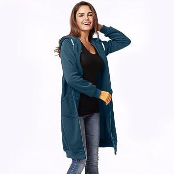 Abrigo largo de las mujeres, LILICAT Sudadera con capucha Tallas grandes caliente de la cremallera