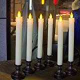 Flameless LED Taper Window Candles,Warm Yellow Flicker Flame Batteries Included Candle,Wedding Christmas Party Decoration - Set of 6 (Bronze)