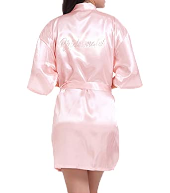 WPFING Wedding Robes for Bride Bridal Robe Lace Satin Women Rhinestone Robes  for Party (XXL 6585e5f29