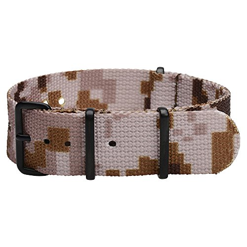 Clockwork Synergy Premium Nylon Nato Watch Straps bands PVD Black Hardware (20mm, Desert CAMO)