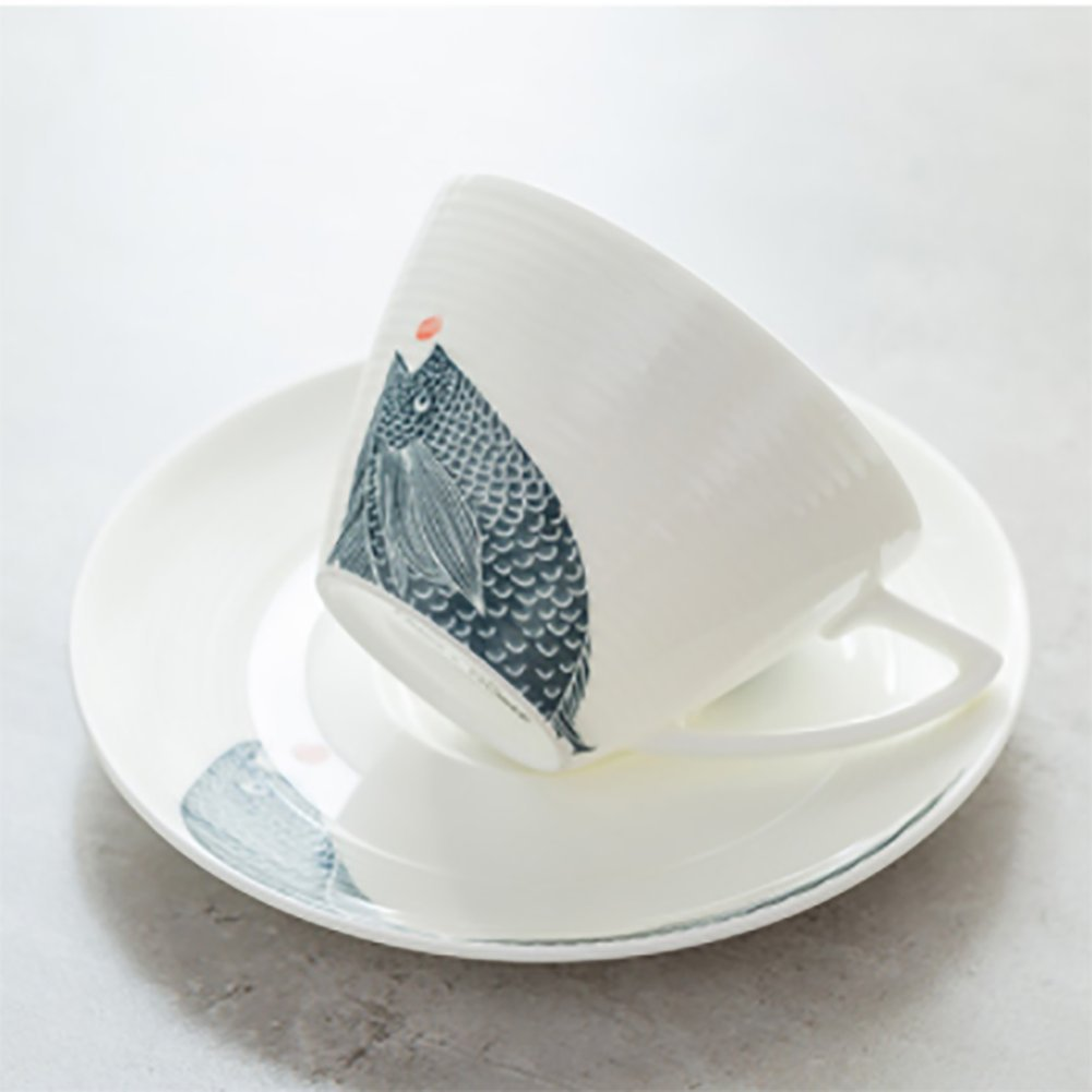 qwert Teacup,Coffee cup set Porcelain cup Household Hotels Simple latte cup 1 cups, 1 discs. Capacity 220ml-A by qwert (Image #5)