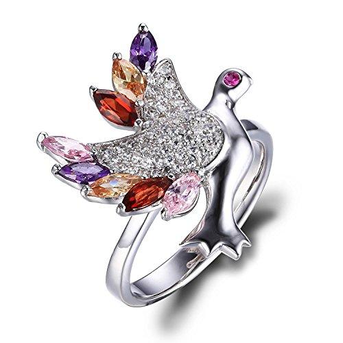 JewelryPalace 1.46ct Magnifique Bague Oiseau Femme en Argent Sterling 925 en Zircon Cubique et Rubis de Synthèse Forme en Colombe de la Paix