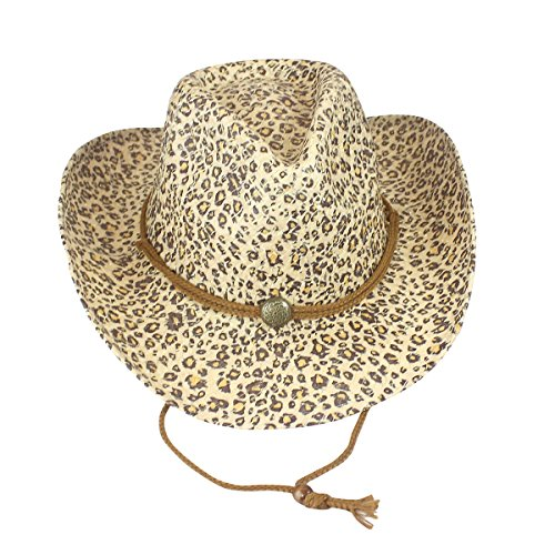 Cowgirl Hat Environmentally Friendly Paper Straw, Leopard Print