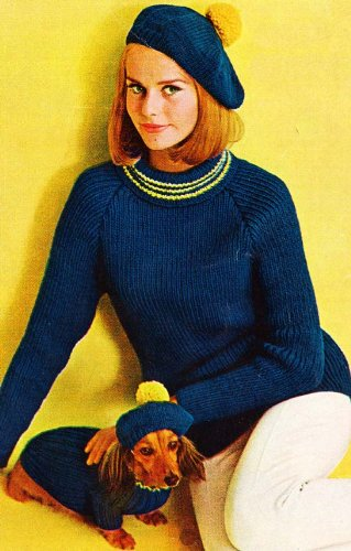 Knit Tam Patterns (Women's & Dog's Matching Turtleneck Sweater & Tam Knit Knitting Pattern EBook Download)